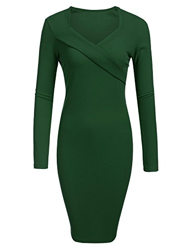 Celebrity Inspired Prom Dresses (SE MIU Women Celebrity Classic Pleated Inspired Pencil Dress Dark Green S)