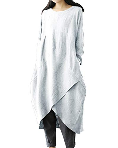 Long Linen & Cotton Dress - Jacansi Womens Linen Cotton Loose Long Sleeve Solid Baggy Dress with Pockets White L