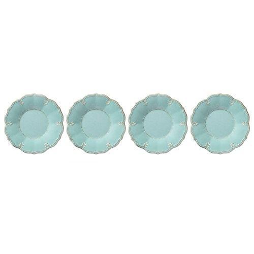 Lenox French Perle Melamine Aqua Accent/Salad Plates, (Set of 4) (Plate Dinnerware Salad French)