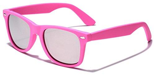 Colorful Retro Fashion Sunglasses - Smooth Matte Finish Frame - Silver Mirror Lens - - Sunglasses Finish Mirror