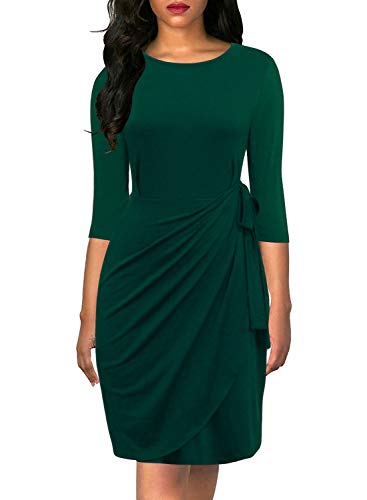 Lyrur Women's Classical Scoop Neck Sheath Work Drapped 3/4 Sleeves Dark Green Faux Wrap Cocktail Dresses(S, 9062-Dark Green)