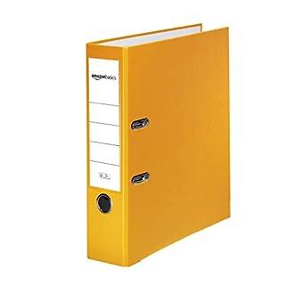 AmazonBasics - Archivador de palanca, cubierta de PP, lomo con bolsillo, Certificación FSC, lomo de 80 mm de ancho, paquete de 10, amarillo