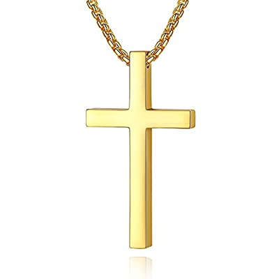 Reve Simple Stainless Steel Cross Pendant Necklace for Men Women, 20''-24'' Rolo Chain, Silver/Gold/Black
