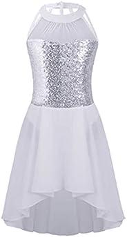 Jowowha Kids Girls Sequin Halter Sleeveless Leotard Chiffon Dress Gymnastic Ballet Ice Skating Performance Cos