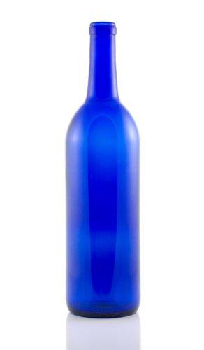 750 ML Bordeaux Cobalt Blue Bottle Cork Finish (single)