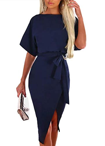 Merryfun Dress for Women Short Sleeve Knee Length Dress with Front Slit,Navy Blue S