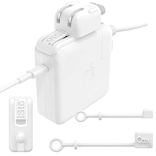 (iSto Combo by Cozy- Compatible with 13/15 inch Macbook Pro Charger for 60W/85W USB-C and MagSafe Travel Clip for Apple Duck Head Power Adapter | Works with US/European/UK Wall plug)