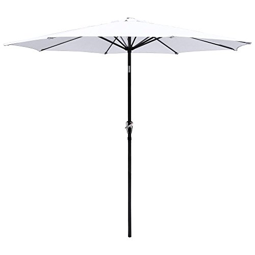 9ft Aluminum Outdoor Patio Umbrella w/ Crank Tilt Deck Market Yard Beach Pool Cafe (White) - White Patio Umbrella