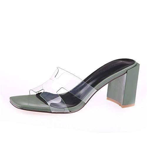 verde HOESCZS H Slippers Female Summer 2019 nuovo Open Toe Transparent Belt Thick with High Heels Word Drag Cool Drag Cey Coloree