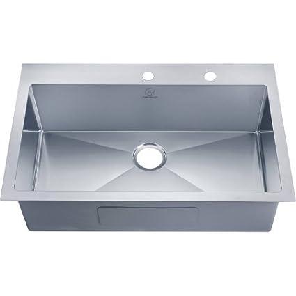 Nationalware 18 Gauge Stainless Steel 33 Single Basin Overmount Kitchen Sink