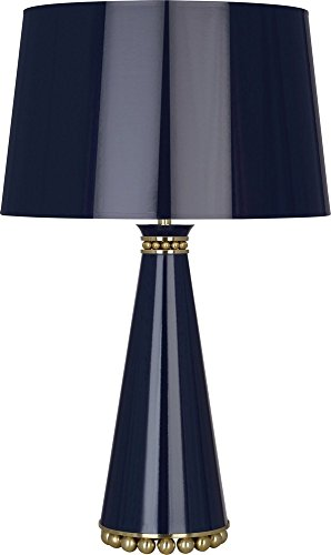Robert Abbey MB44 Pearl - One Light Table Lamp, Midnight Blue Lacquered Paint/Modern Brass Finish with Midnight Blue Painted Opaque Parchment/Gold Shade ()