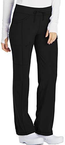 Cherokee Women's Infinty Low Rise Straight Leg Drawstring Scrub Pant, Black, Medium Petite (Cherokee Womens Drawstring Pants)
