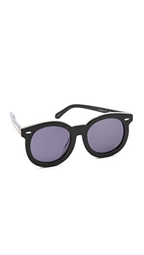 Karen Walker Women's Special Fit Super Duper Thistle Sunglasses, Black/Smoke Mono, One Size