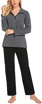 Hotouch Women's Plush Cozy Fleece Pajamas Set