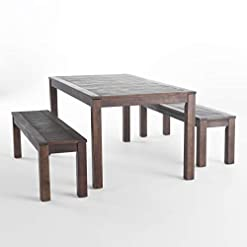 Garden and Outdoor Christopher Knight Home Manila Outdoor Acacia Wood Picnic Set, Dark Brown patio dining sets