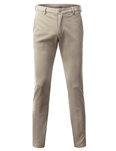 Cotton Twill Flat Front Pants (Doublju Mens Slim Fit Cotton Twill Flat Front Chino Pants STONE)