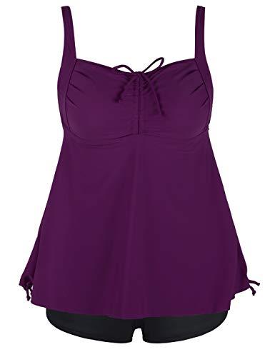 Septangle Women's Plus Size Bathing Suits Paisley Print Two Piece Swimsuit (Fuchsia, US 10)