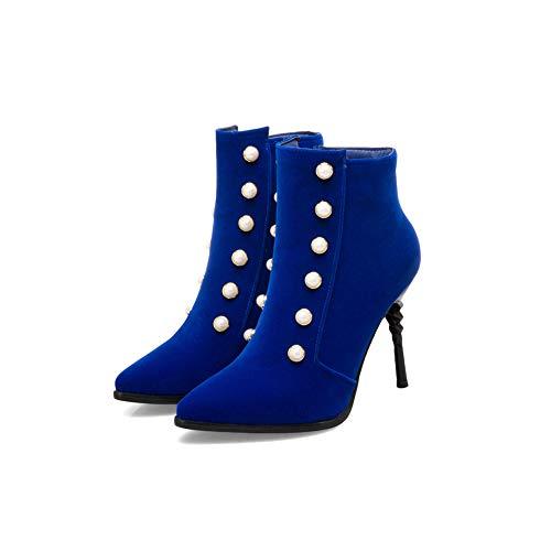Punta Cerniera Shoes Aguzza Sexy Dress Lato Stivaletti Donna Btrada Blu Stivaletti Perla Elegante Sposa Da Alti Tacchi 6wSn5HEg7q