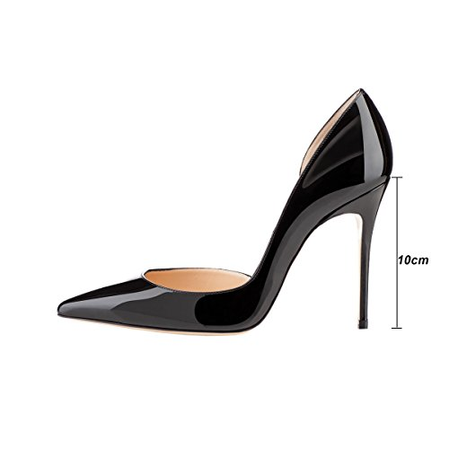 10cm Pumps Closed High VOCOSI Heels Designer Pointed Dress patent Toe Women's Black aTIzCq1