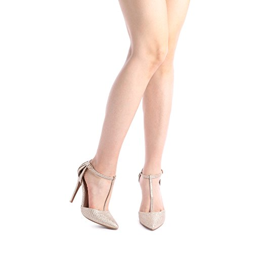 Gold Glitter Pump Shoe Oppointed PAIRS Women's Mary DREAM nq0YTI