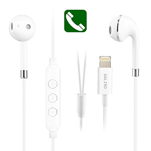 Galiro Lightning Headphones/Earbuds,Stereo Sound by Bluetooth in Earbuds and Built-In Mic and Volume Control,call for iPhone 7,7 Plus,8,8 Plus,iPhone X.Wired charging Bluetooth without battery(White)