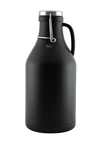 The Grizzly - 64 oz Double Wall Stainless Steel Flip Top Beer Growler - Black by Kegco