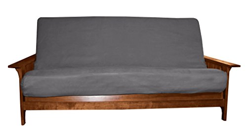 Loft Futon Cover - Better Fit Machine Washable Upholstery Grade Futon Cover , Full 8-inch Loft-size, Microfiber Suede Slate Grey