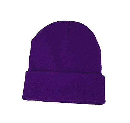 批判的提案する医薬ニットハットファッションウォーム厚手ニット帽冬の帽子 [ダークパープル]