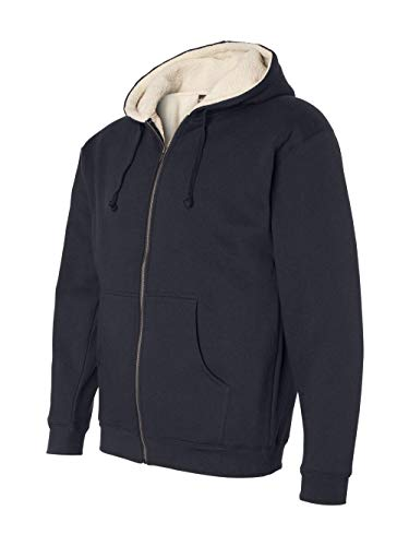 Independent Trading Co. EXP40SHZ Sherpa Lined Full-Zip Hooded Sweatshirt Navy/ Natural M