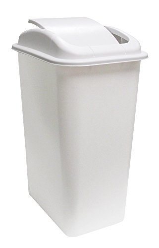 Swing Lid Wastebasket - United Solutions WB0235 41-Quart Slim Fit Wastebasket with Swing Top Lid, 10.25 Gallon, White