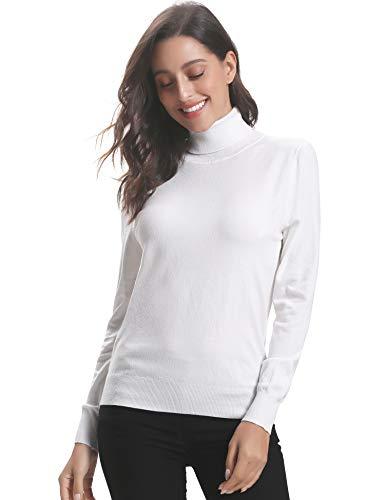 Pullover Bianco Invernali E Ideale 2 Donna Eleganti Maglione A Dolcevita Maglieria Manica Girocollo Lungo Maglioni Alto collo Regalo Caldo Collo Alto Vestito Abollria Lunga ERqgyHzW