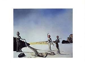 Salvador Dali - Tres Jóvenes Mujeres Surrealistas en sus brazos las pieles de una orquesta Artistica di Stampa (35,56 x 27,94 cm)