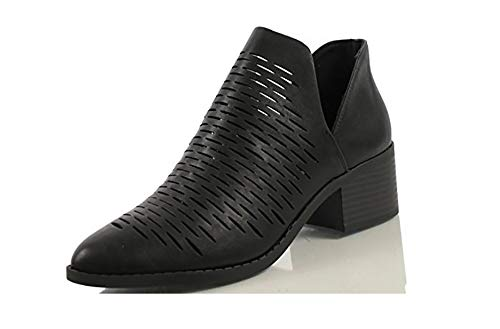 SODA Women's Tassels Braided Straps Stacked Block Heel Ankle Booties MVE Shoes, Chalk Black Size 7