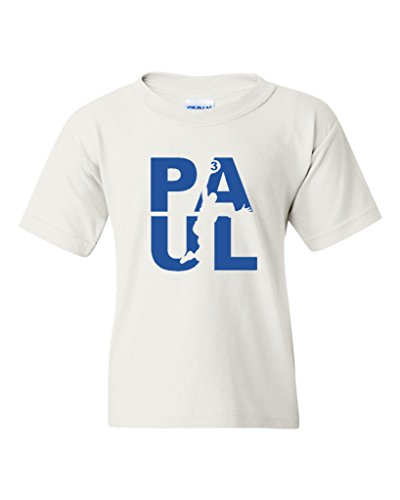 (Paul Fan Wear Basketball Sports Youth Kids T-Shirt Tee (X-Large, White w/Royal Blue) )