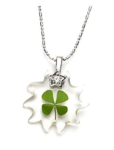 Lucky Shamrock Pendant - Genuine Four-leaf Lucky Clover Shamrock Crystal Amber Pendant Necklace, the Lucky Ten Point Decagram Star !