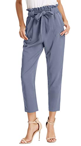 Grace Karin Women's Slim Straight Leg Stretch Casual, Blue-Gray, Size Medium