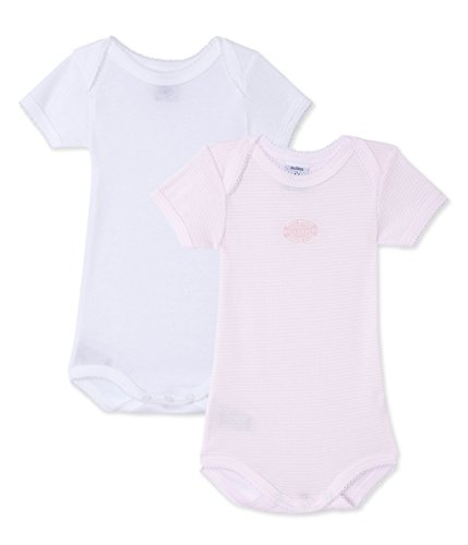 Petit Bateau Set of 2 Baby Girls Short Sleeve Bodysuits Style 24274 Sizes 6-24 Months (Size 12/M Style 24274 S/S)