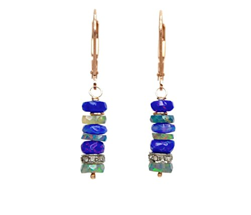 Black Opal Earring Purple Ethiopian Black Opal and Pave Diamond Stack- 1.6'' Length by Nadean Designs