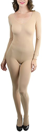 Opaque Long Sleeve - ToBeInStyle Women's Opaque Scoopneck Long Sleeve Bodystocking - Beige