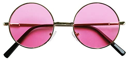 ShadyVEU - Retro Colorful Tint Lennon Style Round Groovy Hippie Wire Sunglasses (Gold Frame/Pink Lens, ()