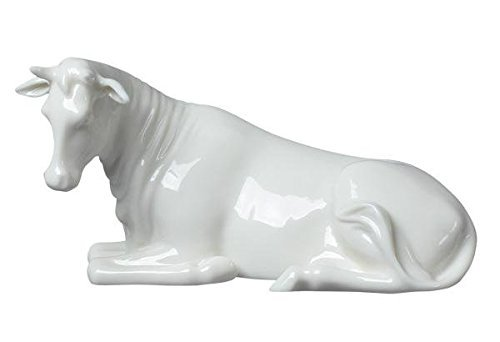 5 Inch All White Porcelain Figurine Nativity Scene Cow Lying Down