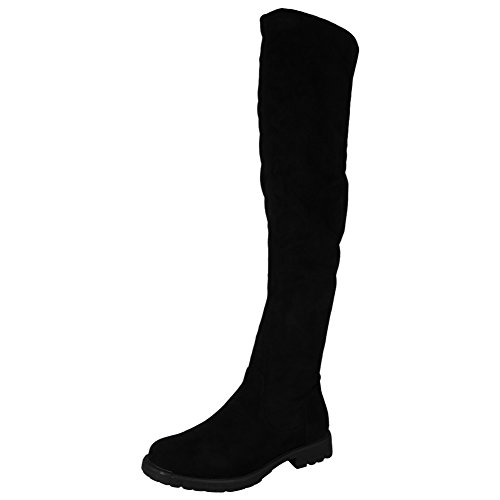 Womens Ladies Thigh High Boots Over The Knee Party Stretch Low Heel Shoes Size 3-8 Black 1 by4JJjnW