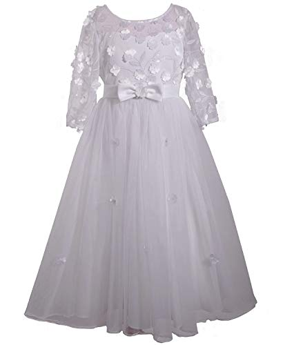 Bonnie Jean Girl's First Communion Dress with Bow and Daisies, Long Sleeve (7) White ()