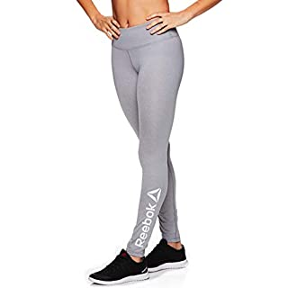 Reebok Women's Leggings Full Length Performance Compression Pants - Athletic Workout Leggings for Women for Gym & Sports - Grey Day Heather, Large
