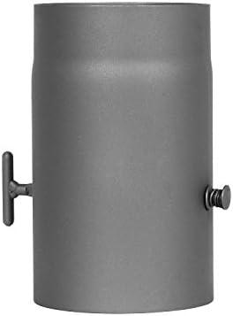 Rauchrohr mit Drosselklappe 130 mm schwarz Senotherm Ofenrohr Kaminrohr