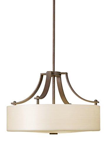 Feiss F2404/3CB Sunset Drive Drum Pendant Lighting, Bronze, 3-Light (18