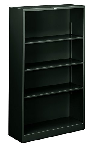 Partitions Hon Office (HON Metal Bookcase - 4-Shelf Bookcase, 34-1/2w x 12-5/8d x 59h, Charcoal (HHS60ABC)))