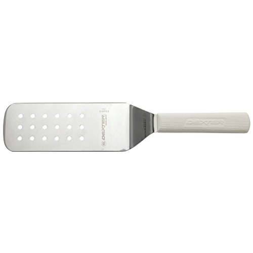 - Dexter Sani-Safe Stainless Steel Perforated Turner with White Polypropylene Handle - 8