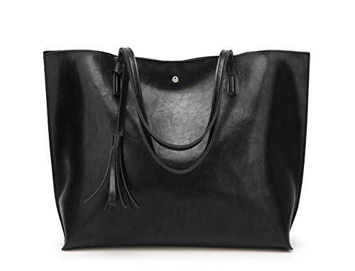 Women's Soft Leather Tote Shoulder Bag from Dreubea, Big Capacity Tassel Handbag Black (New Style)