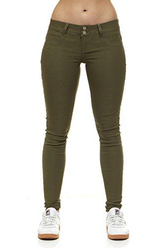 V.I.P.JEANS Women's Extra Stretch, Tight Slim Fitting, Junior Sizes, Green Denim, Olive Green, (Extra Slim Slim Jeans)